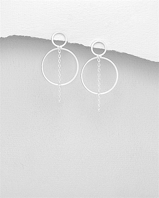 706-29298 - 925 Sterling Silver Circle Push-Back Earrings