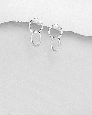 706-29590 - 925 Sterling Silver Ball, Circle Links Push-Back Earrings
