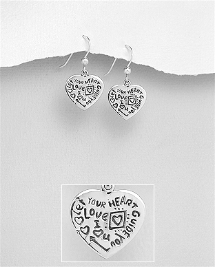 706-29665 - 925 Sterling Silver Heart Let YOUR HEART GUIDE YOU, LOVE, I Love You Hook Earrings