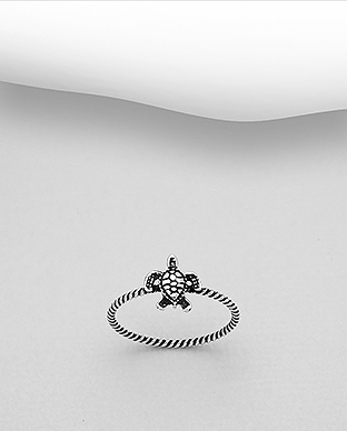 706-29995 - 925 Sterling Silver Oxidized Turtle Ring