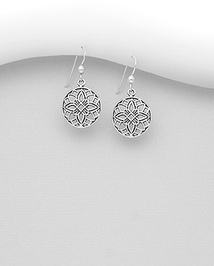 706-30119 - 925 Sterling Silver Oxidized Flower Hook Earrings