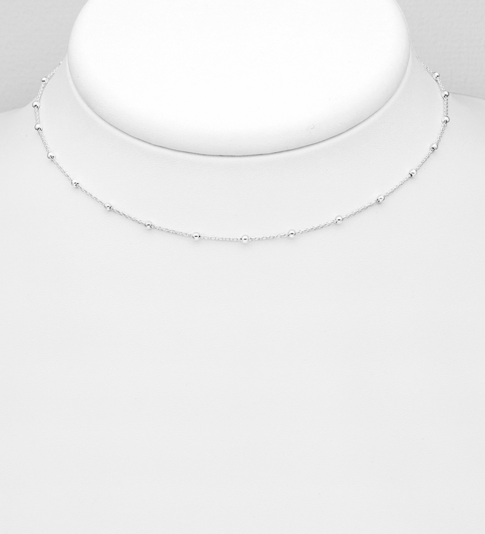 706-27949C - ITALIAN DELIGHT - 925 Sterling Silver 2 mm. Ball Choker, Made in Italy.
