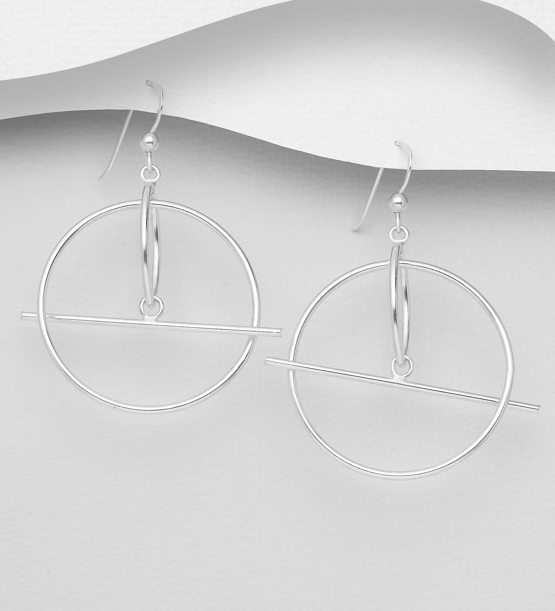 706-30674 - 925 Sterling Silver Bar and Circle Hook Earrings