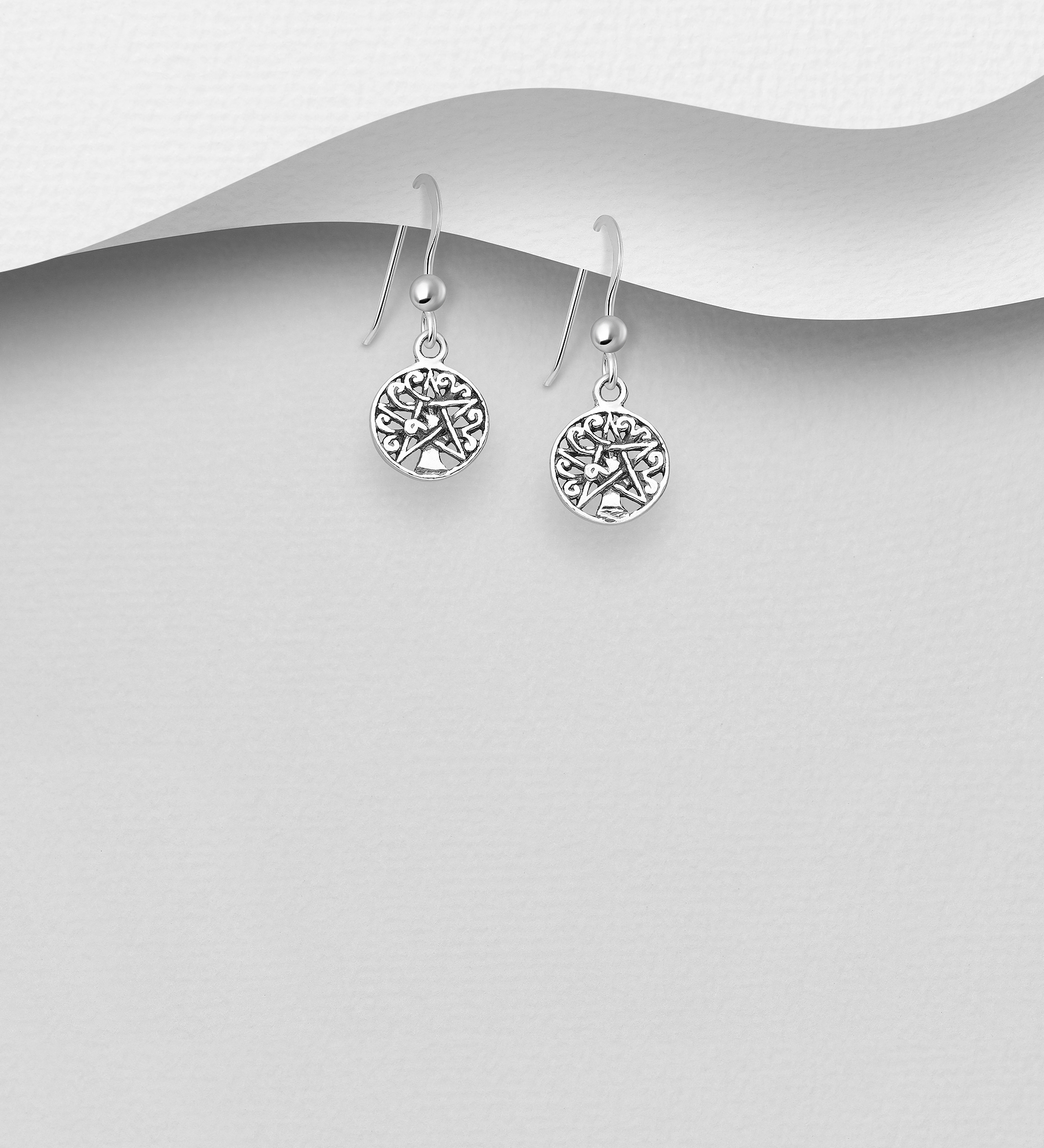 706-30823 - 925 Sterling Silver Oxidized Star and Tree of Life Hook Earrings