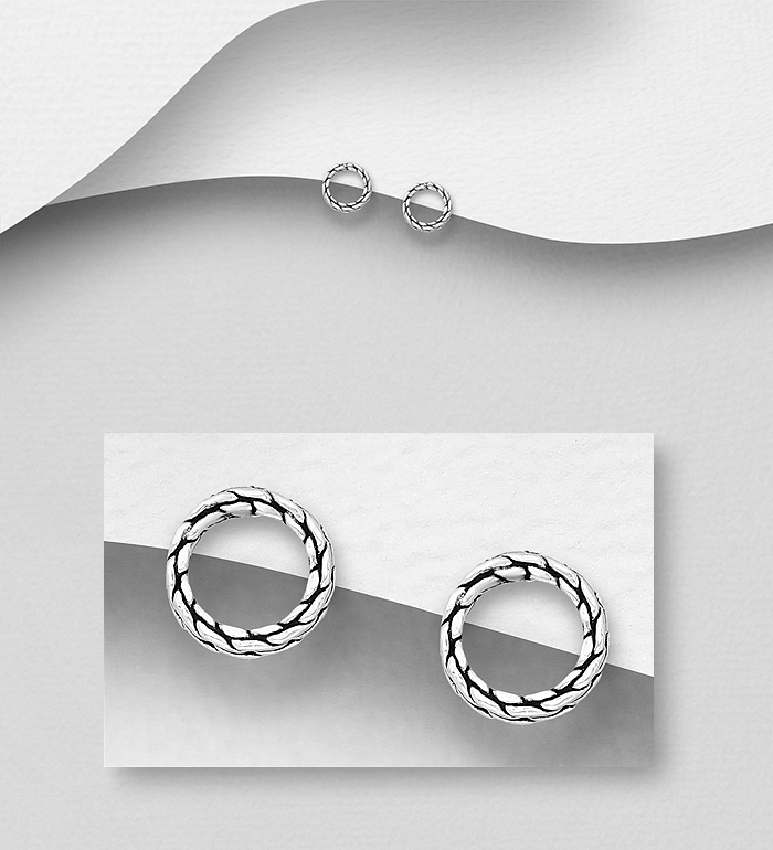 706-31268 - 925 Sterling Silver Oxidized Circle Push-Back Earrings