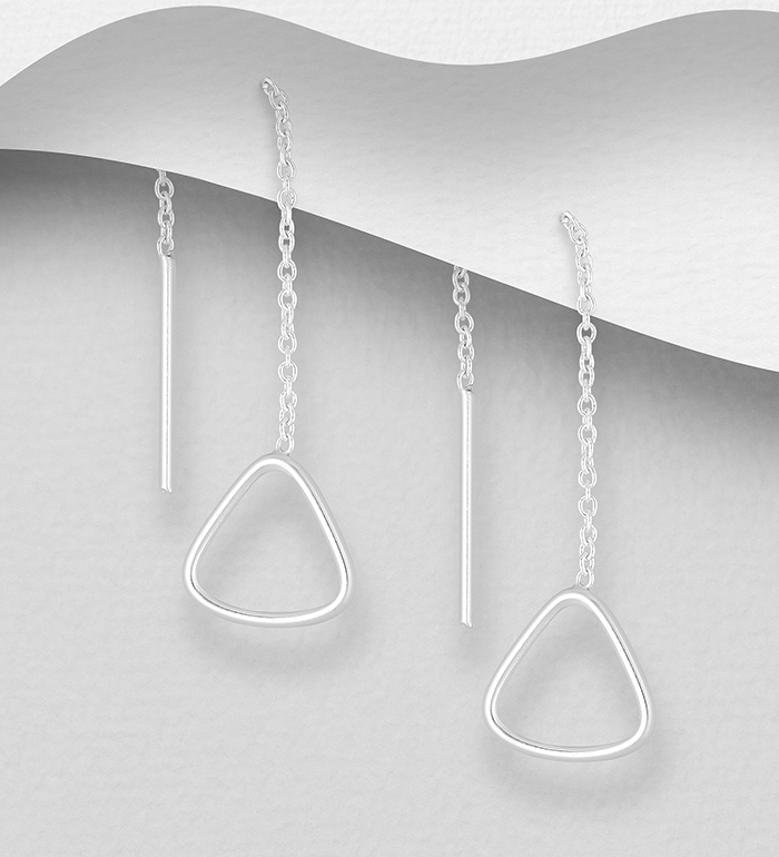 706-32249 - 925 Sterling Silver Triangle Threader Earrings