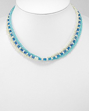 727-3235 - Zinc Necklace Beaded With Semi Gemstone Beads And Fresh Water Pearls