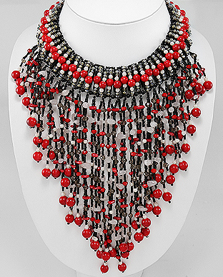 756-2006 - Zinc Necklace Beaded With Coral, Crystal Glass, Dyed Red Jade, Glass Beads, Rose Quartz And Seed Beads