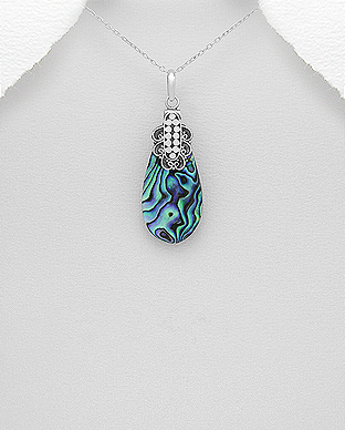 789-2787 - 925 Sterling Silver Pendant Decorated with Shell