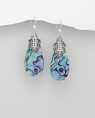 789-2788 - 925 Sterling Silver Hook Earrings Decorated With Shell