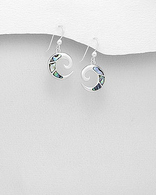 789-3569 - 925 Sterling Silver Hook Earrings Decorated With Shell
