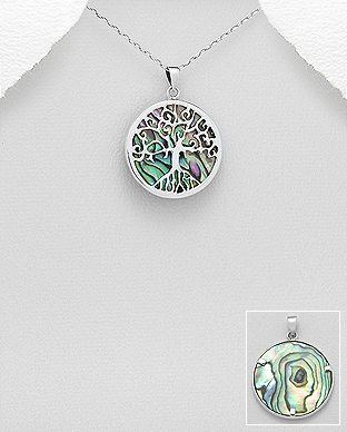 789-3768 - 925 Sterling Silver Tree of Life Pendant Decorated With Shell