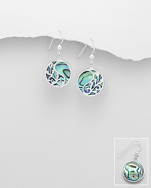 789-3779 - 925 Sterling Silver Hook Earrings Featuring Leaf Decorated With Shell