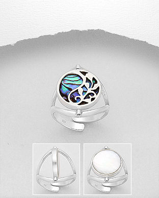 789-3848 - 925 Sterling Silver Leaf Adjustable Ring Decorated With Shell