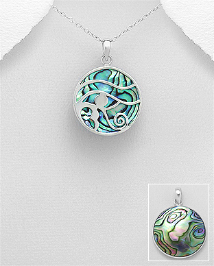 789-3864 - 925 Sterling Silver The Eye of Horus Pendant Decorated With Shell