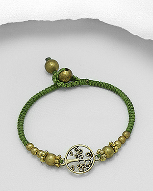 890-3940 - Brass Bracelet Featuring Tree of Life