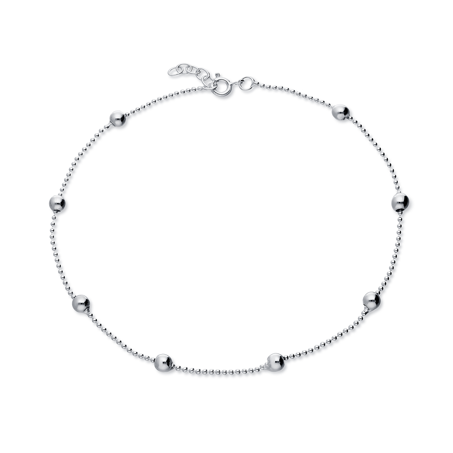 90-175 - 925 Sterling Silver Ball Anklet