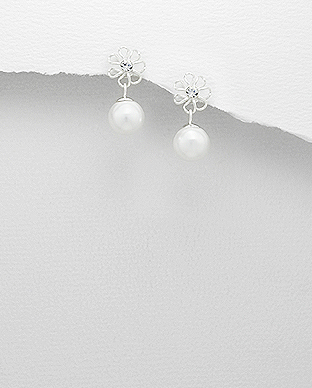 964-639 - 925 Sterling Silver Flower Push-Back Earrings Decorated With Crystal Glass & Simulated Pearl