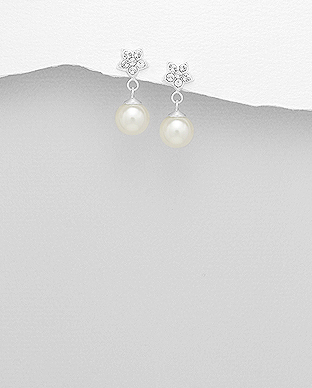 964-845 - 925 Sterling Silver Flower Hook Earrings Decorated With Crystal Glass & Simulated Pearl