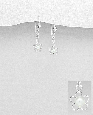 964-870 - 925 Sterling Silver Flower Hook Earrings Decorated With Crystal Glass & Simulated Pearl
