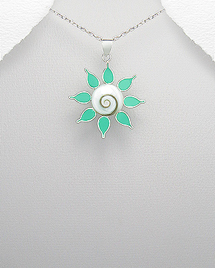 966-423 - 925 Sterling Silver Flower Pendant Decorated With Colored Enamel and Shiva Shell