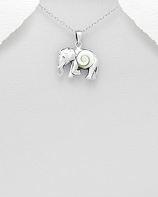 966-591 - 925 Sterling Silver Elephant Pendant Decorated With Shiva Shell